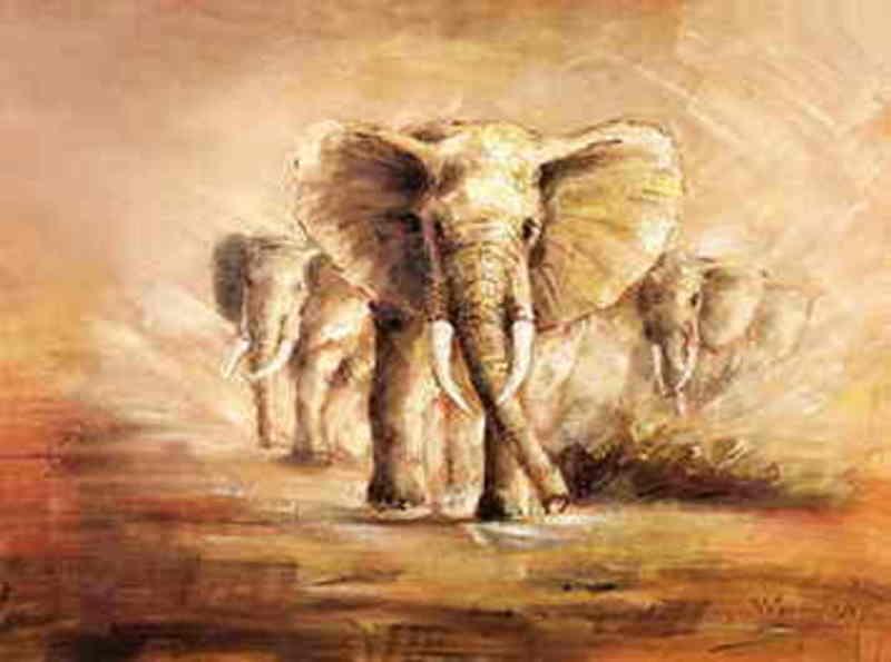 reproduction tableaux  animaliers peinture sur toile elephant