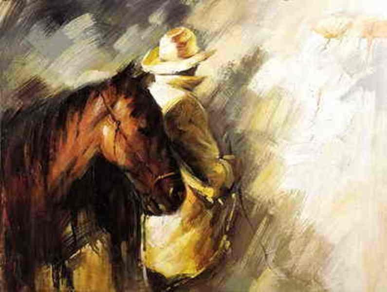 toile en peinture cowboy 2 tableau tableaux taureaux arts reproductions peinture l huile sur. Black Bedroom Furniture Sets. Home Design Ideas