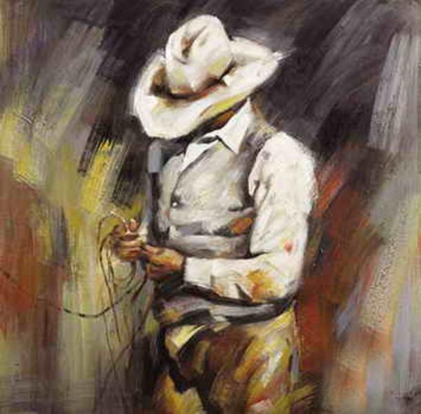 vente peintures artistes cowboy 4 tableau tableaux taureaux arts reproductions peinture l. Black Bedroom Furniture Sets. Home Design Ideas