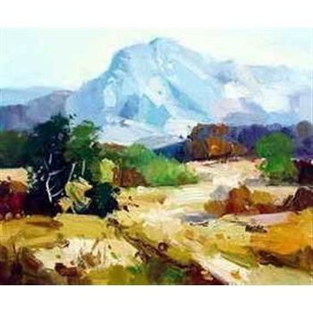 Tableau peinture a l huile contraste flan de montagne tableau tableaux pays - Tableaux de peinture a l huile ...