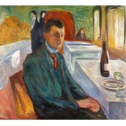 Tableau Peinture à l'huile Edvard Munch Self-Portrait with a Bottle of Wine