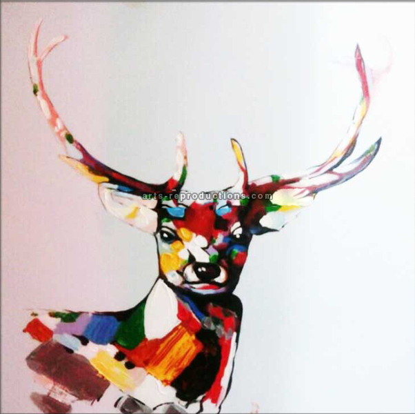 tableau peinture l 39 huile animal cerf color tableau tableaux animaux arts reproductions. Black Bedroom Furniture Sets. Home Design Ideas