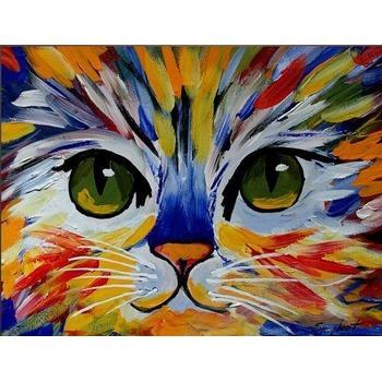 tableau peinture l 39 huile animal chat color tableau tableaux animaux arts reproductions. Black Bedroom Furniture Sets. Home Design Ideas