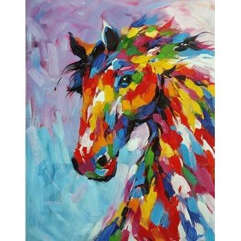tableau peinture l 39 huile animal cheval color tableau tableaux animaux arts reproductions. Black Bedroom Furniture Sets. Home Design Ideas