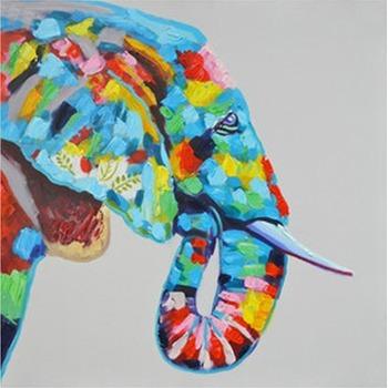 tableau peinture l 39 huile animal el phant 1 color tableau tableaux animaux arts reproductions. Black Bedroom Furniture Sets. Home Design Ideas