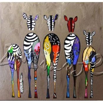 Tableau Peinture à Lhuile Animal Famille Zèbre Coloré Tableau