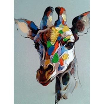 tableau peinture l 39 huile animal girafe 1 color tableau tableaux animaux arts reproductions. Black Bedroom Furniture Sets. Home Design Ideas