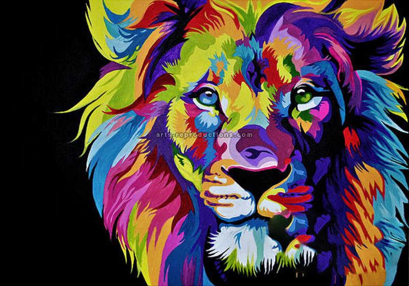 tableau peinture l 39 huile animal lion 1 color tableau tableaux animaux arts reproductions. Black Bedroom Furniture Sets. Home Design Ideas