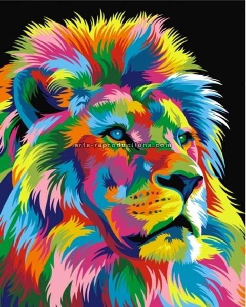 tableau peinture l 39 huile animal lion 4 color tableau tableaux animaux arts reproductions. Black Bedroom Furniture Sets. Home Design Ideas