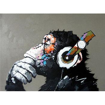 Tableau Peinture à L Huile Animal Singe Chimpanzé Casque Audio