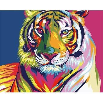 tableau peinture l 39 huile animal tigre 2 color tableau tableaux animaux arts reproductions. Black Bedroom Furniture Sets. Home Design Ideas