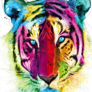 tableau peinture l 39 huile animal tigre color tableau tableaux animaux arts reproductions. Black Bedroom Furniture Sets. Home Design Ideas
