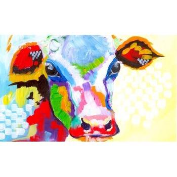 tableau peinture l 39 huile animal vache 5 color tableau tableaux animaux arts reproductions. Black Bedroom Furniture Sets. Home Design Ideas