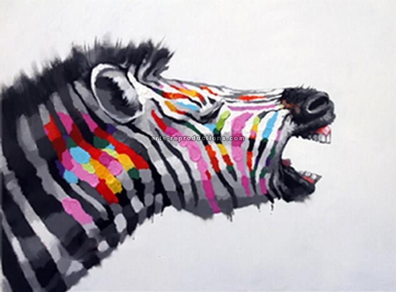 Tableau Peinture à L Huile Animal Zèbre Coloré Tableau Tableaux