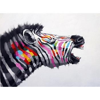 Tableau Peinture à Lhuile Animal Zèbre Coloré Tableau Tableaux