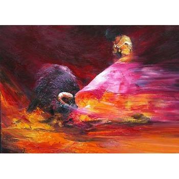 Tableau Peinture à l'huile Corrida Torrero Taureau 1 tableau Tableaux Taureaux Arts ...