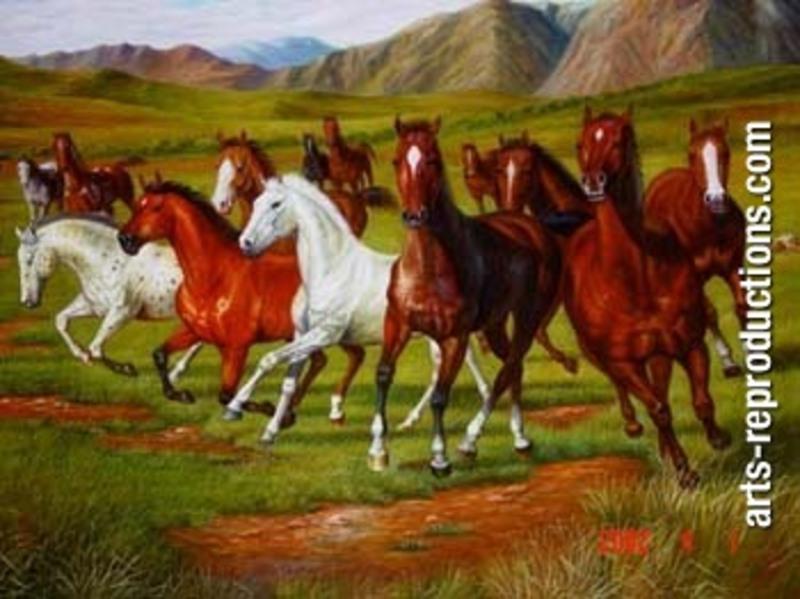 Tableau peint johs031 tableau tableaux cheval arts reproductions peinture l huile sur toile - Tableau de cheval ...