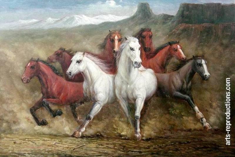Toile peint johs080 tableau tableaux cheval arts reproductions peinture l huile sur toile de lin - Tableau de cheval ...