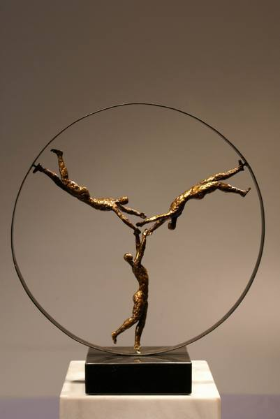 Extrêmement Sculpture moderne figure en trio Statuettes décoration Arts  ZG81