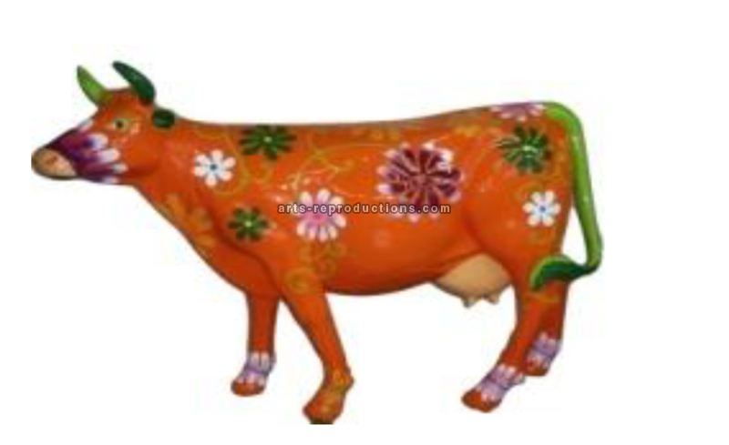 Sculpture animal en résine VACHE ORANGE FLEURS XXL