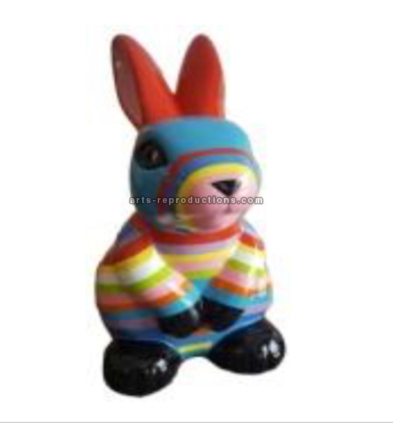 Statue animal en résine LAPIN GM MULTICOLORE