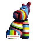 Sculpture en résine HIPPOPOTAME ASSIS MULTICOLORE MM