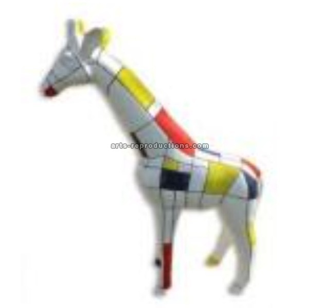 Sculpture animal en résine GIRAFE PM MONDRIAN 120cm