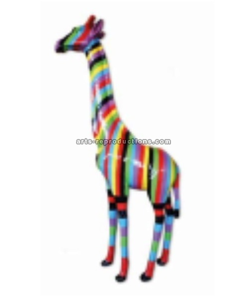 Sculpture animal en résine GIRAFE MM MULTICOLORE 205cm