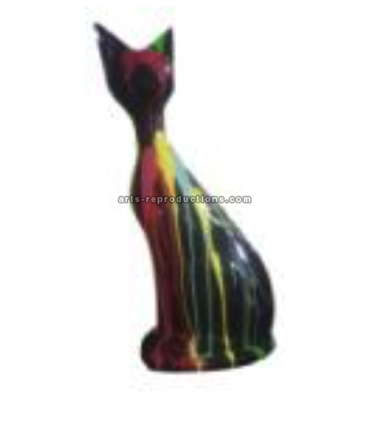 Sculpture animaux en résine CHAT ASSIS GM TRASH
