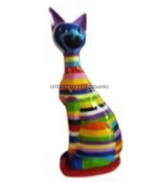 Sculpture animal en résine CHAT ASSIS GM MULTICOLORE