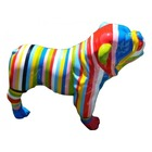 Sculpture animaux en résine BULLDOG BOULEDOGUE USA GM DEBOUT MULTICOLORE