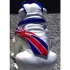 Statue animal en résine BULLDOG BOULEDOGUE USA GM ASSIS CRAVATE DRAPEAU