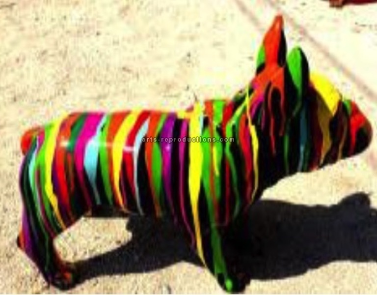 Sculpture animaux en résine BULLDOG BOULEDOGUE FRANCAIS PM DEBOUT TRASH