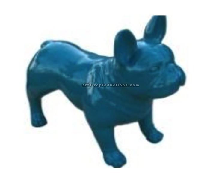 Sculpture animal en résine BULLDOG BOULEDOGUE FRANCAIS PM DEBOUT MONOCHROME