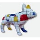 Sculpture animal en résine BULLDOG BOULEDOGUE FRANCAIS PM DEBOUT MONDRIAN